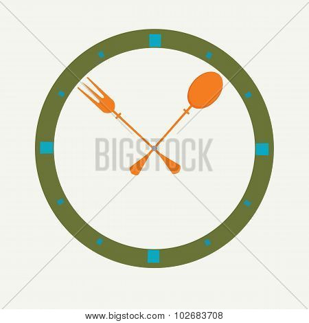 Fork And Spoon As A Clock, Clock Icon.