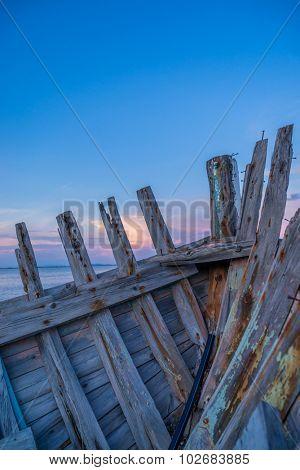 wreck of a fishing boat in Lefkada GReece