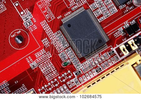Close-up Of Electronic Circuit Red Board With Processor