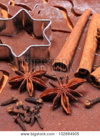 Spice And Accessories For Baking On Dough For Christmas Cookies And Gingerbread