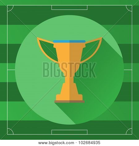 Football Championship Gold Cup On Game Field