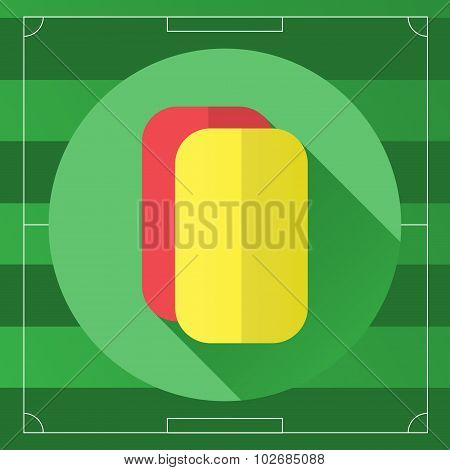 Referee Yellow And Red Round Icon