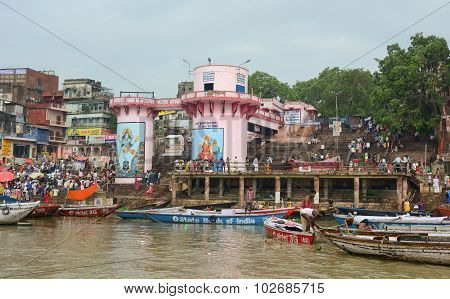Boats On The Ganges River In Varanasi