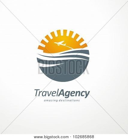 Creative logo design concept with sun and ocean
