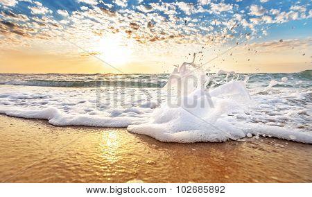 Sea Wave And Sandy Beach.