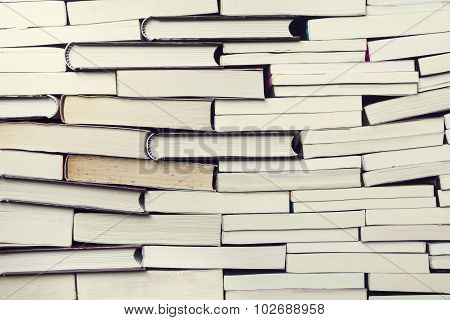 Books On Wooden Planks Background, Vintage Style