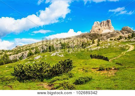 Monte Averau, green meadows in Dolomites