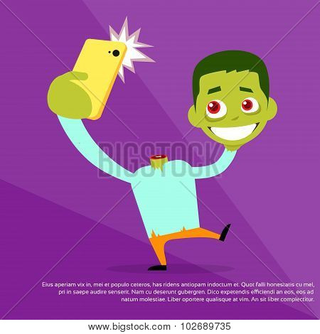 Halloween Selfie Photo Zombie Headless Hold Head in Hand Smart Phone Scary Cartoon Character Smile