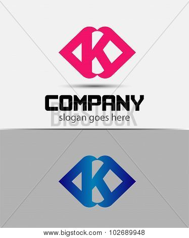 Letter K logo icon design template elements. Vector color sign