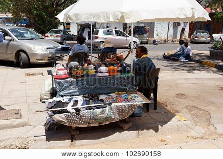 Market On Street In Francis Town, Botswana