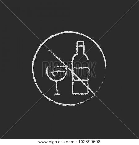 No alcohol sign hand drawn in chalk on a blackboard vector white icon isolated on a black background.