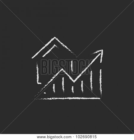 Graph of real estate prices growth hand drawn in chalk on a blackboard vector white icon isolated on a black background.