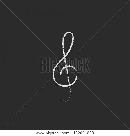 G-clef hand drawn in chalk on a blackboard vector white icon isolated on a black background.