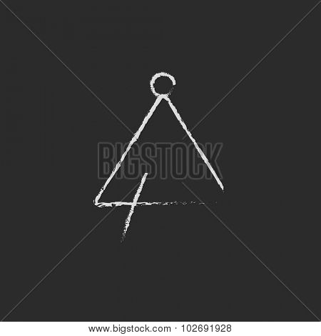 Triangle hand drawn in chalk on a blackboard vector white icon isolated on a black background.