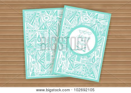 Ethnic Cards and Invitations. Geometric and aztec hand-drown pa