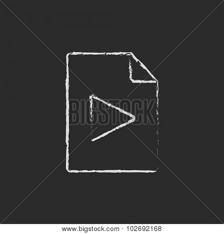 Audio file hand drawn in chalk on a blackboard vector white icon isolated on a black background.