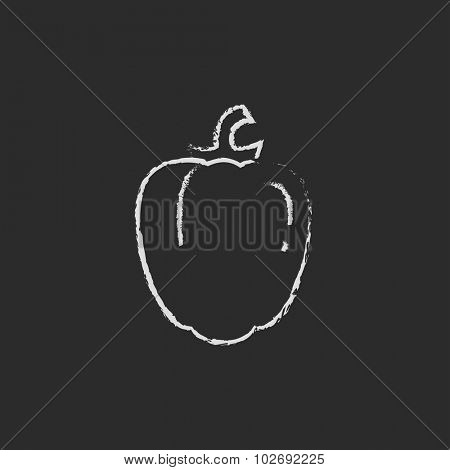 Bell pepper hand drawn in chalk on a blackboard vector white icon isolated on a black background.