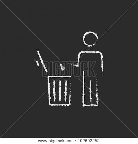 Man throwing garbage in a bin sketch icon for web, mobile and infographics. Hand drawn vector dark grey icon isolated on light grey background.