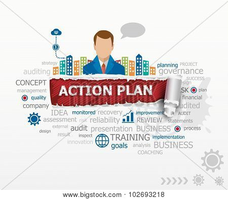 Action plan and business man.