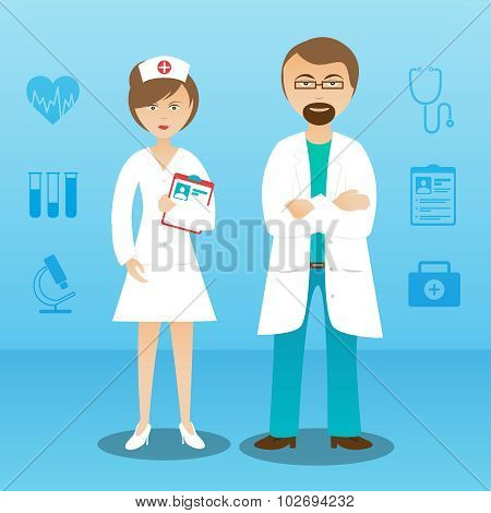 Medicine doctor man woman character banner