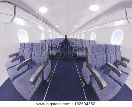 airplane interior seats.fish eye effect. 3D rendering