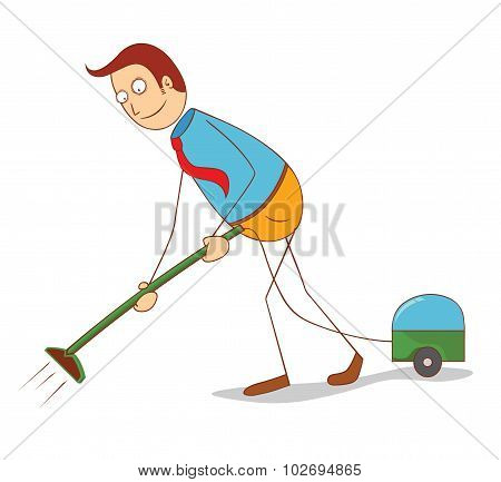 Cartoon Man With Vacuum Cleaner