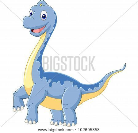 Cartoon dinosaur brachiosaurus on white background
