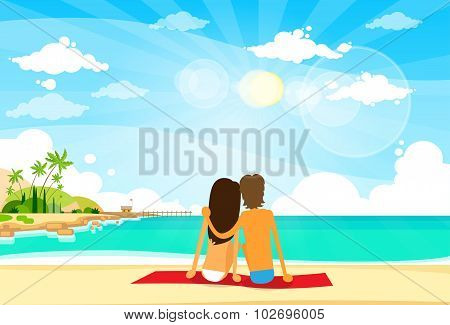 Couple On Summer Vacation Holiday Tropical Ocean Island
