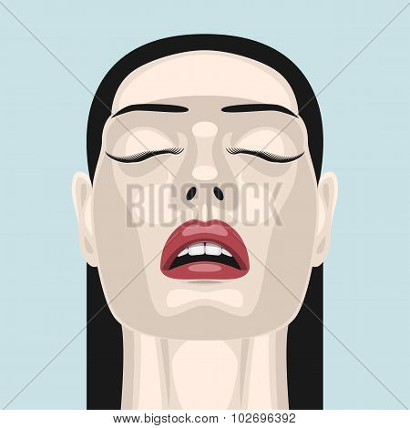 Beauty brunette Woman with open Mouth