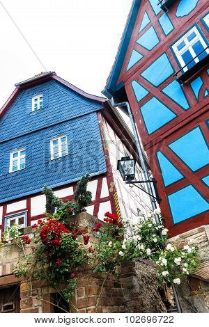Colorful houses in the old town of Ortenberg, Germany