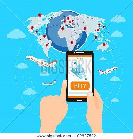 Buy Ticket Online Smart Phone Application Globe World Map Travel Vacation Trip Booking Air Plane Fli