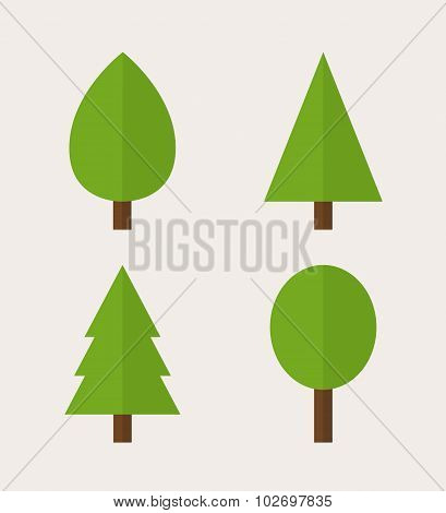 Green Trees icons. Pines, firs and deciduous trees, modern minimal flat design style, vector illustr