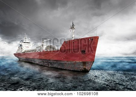 Ship At Winter Scenery