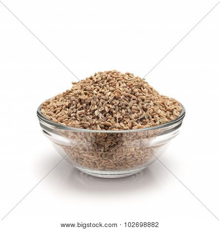 Front view of bowl of Organic Ajwain.
