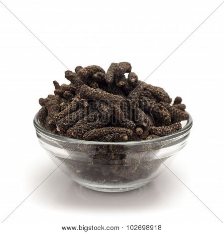 Front view of bowl of Organic Long pepper.