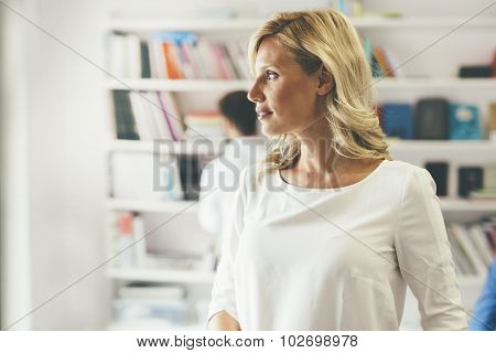 Beautiful Blonde Woman In Library