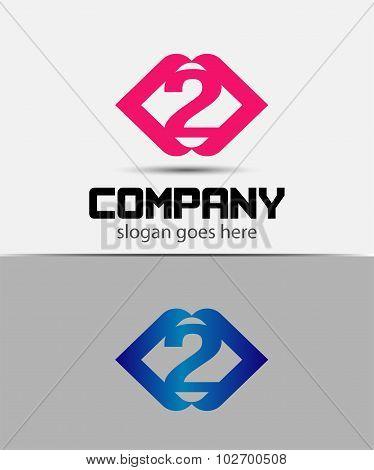 Number 2 logo. Vector logotype design