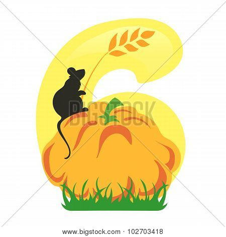 Bright Number Six From Yellow Autumn Harvest Set With Mice And Fruits