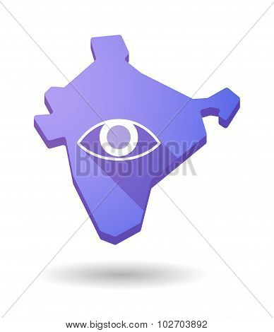 Long Shadow India Map Icon With An Eye