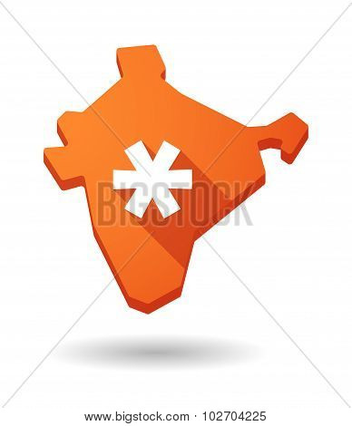 Long Shadow India Map Icon With An Asterisk