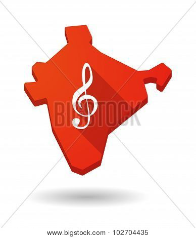 Long Shadow India Map Icon With A G Clef