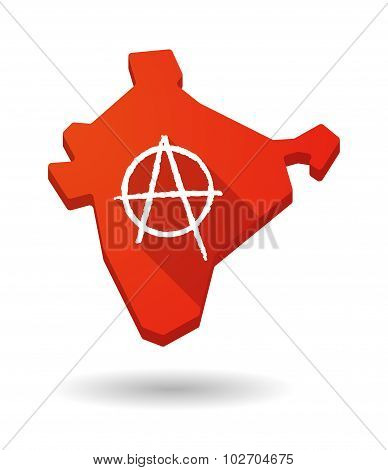 Long Shadow India Map Icon With An Anarchy Sign