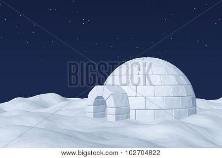 Igloo Icehouse On Polar Snow Field Under Night Sky With Stars.
