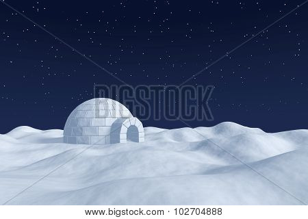 Igloo Icehouse On Snow Polar Field Under Night Sky With Stars
