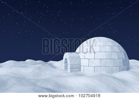 Igloo Icehouse On The Polar Snow Field Under Night Sky With Stars