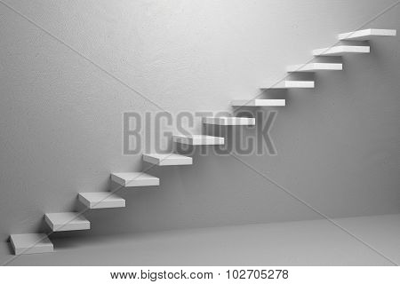 Ascending Stairs Of Rising Staircase In White Empty Room 3D Illustration