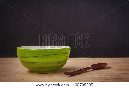 Still Life Green Bowl With Wooden Shopsticks