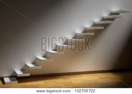 Ascending Stairs Of Rising Staircase In Dark Empty Room With Light With Parquet Floor And Plinth 3D