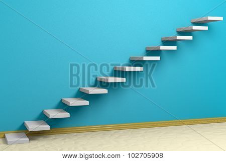 Ascending Stairs Of Rising Staircase In Blue Empty Room With Beige Floor And Plinth