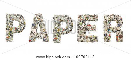 the word PAPER made from Newspaper